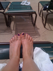 feet by the pool