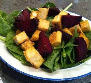 Spinach Salad with Beets and Baked Tofu