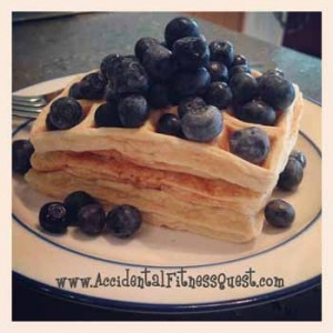 Blueberry Oat Protein Waffles