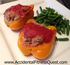 Peppers Stuffed With Rice and Beef